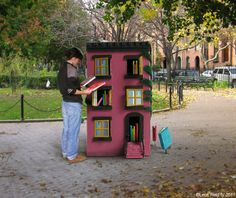 The 100 Story House is a piece of interactive public art. It is a miniature Brooklyn brownstone whose windows open upon shelves of books (about 100 of them), which can be borrowed by the community. Situated in the Cobble Hill Park on Clinton Street, the House is a tiny lending library open to all and operating on the honor system -- take-a-book, leave-a-book.