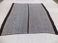 White And Brown Kilim Feet Cm Outdoor Decor Handwoven Turkish Rug Striped Anatolian