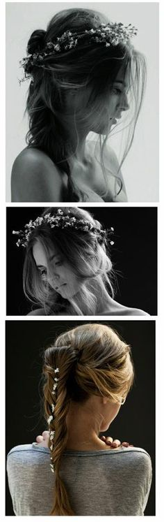 nice Coiffure mariage : flowers in your hair. Bohemian Hairstyles, Bride Hairstyles, Pretty Hairstyles, Updo Hairstyle, Hairstyle Ideas, Wedding Hair And Makeup, Bridal Hair, Hair Wedding, Bohemian Wedding Hair