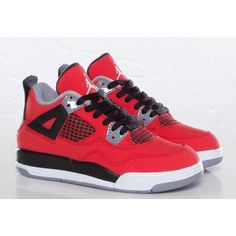 "Air Jordan 4 Retro ""Toro Bravo"" Toddler Little Kid Sizes ❤ liked on Polyvore featuring shoes and babies"