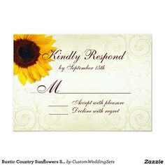Rustic Country Sunflowers Swirls Wedding RSVP Card