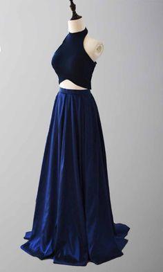 Halter Blue Colors Two Pieces Prom Dresses Long KSP462