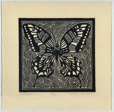 Swallowtail was created and carved on a linoleum block and hand printed on cream Arches acid free paper; I could not resist, with summer upon us,