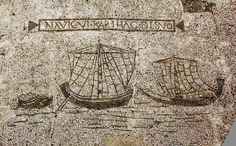 Ostia antica mosaic, with two Roman one-masted coasting ships.