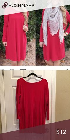 Red tunic Red tunic, great for layering! I own this specific tunic in MANY Colors and have only worn this red one once. Super comfortable, oversized in the body but fitted in the arms. Tops Tunics