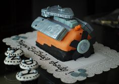 My brother's engine cake! Doctor Cake, Decorating Cakes, Baked Goods, Engine, Baking, Desserts, Food, Tailgate Desserts, Deserts
