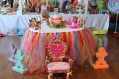 A Rainbow Colored Candy Land First Birthday Party