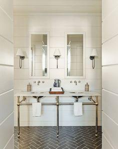 Bathroom wall bathroom bathroom design trend herringbone tile bathroom walls bathroom white bathroom wall tile on Bad Inspiration, Bathroom Inspiration, White Shiplap, White Paneling, Herringbone Tile, Brick Flooring, Penny Flooring, Dark Flooring, Linoleum Flooring