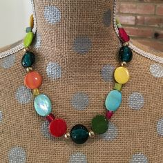 Pops of color necklace NWOT. Tiny chip on one of discs as shown. Small dark speck on another disc. Jewelry Necklaces