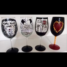 Hand painted set of 4 One Tree Hill glasses #oth #onetreehill #wineglasses
