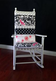 Rocking Chair Cushion Cover   Pink Parrot Black Polka Dot Multi