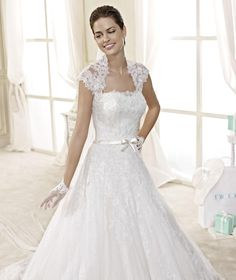 Charming Aline Strapless Sleeveless Beading Buttons Lace Sashes/Ribbons Court Train Lace Satin Tulle Wedding dresses  Model: A1643 Starting at: $329.99