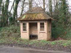 Thatched bus shelter on B1113