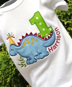 Boys Dino in Blue on Etsy, Sold - Ordered! Personalized Birthday Shirts, 1st Birthday Shirts, Dinosaur Birthday Party, Baby First Birthday, Boy Birthday Parties, Birthday Ideas, Halloween Shirts Kids, Baby Shower, First Birthdays