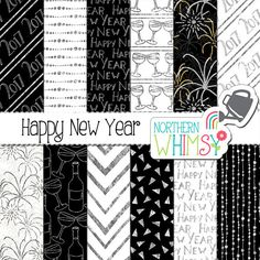 """New Years Digital Paper - """"Happy New Year"""" - black, white & silver 2017 New…"""