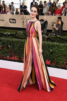 Michelle Dockery is Bright and Bold in Elie Saab at the 2017 SAG Awards   Tom + Lorenzo // #halterdress