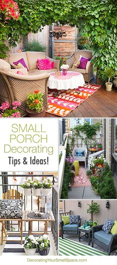 Small #Porch Decorating Tips & Ideas! via Decorating Your Small Space