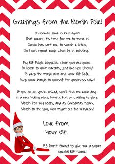 Check out this item in my Etsy shop https://www.etsy.com/listing/212674150/elf-on-the-shelf-arrival-letter-instant