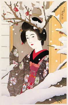 Girl Looking at Red Plum Blossoms in Snow  by Ito Shinsui, 1929  (published by Watanabe Shozaburo)