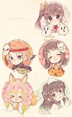 Kimetsu No Yaiba Anime Chibi, Kawaii Anime, Manga Anime, Anime Art, Demon Slayer, Slayer Anime, Anime Drawings Sketches, Cute Drawings, Anime Group