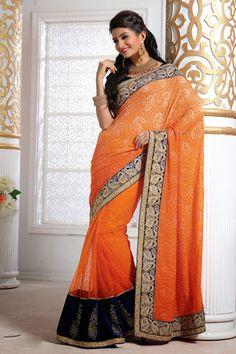 Orange Faux Georgette Resham Work Party Wear Saree