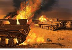 Iraqi troops transport destroyed during Operation Desert Storm Military Art, Military History, Osprey Publishing, Cold War, Troops, Military Vehicles, Tanks, Drawings, Painting & Drawing