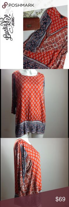 """Lucky Brand 🔳 Top Lucky Brand 🔳 Top, 3/4 Sleeves, Chest 46, Length 28"""", Long and Comfortable, Excellent Condition Lucky Brand Tops"""