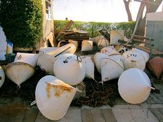 Metal buoys that are being replaced with buoys made from plastic-metal hybrids in Puerto Viejo, Colonia del Sacramento.