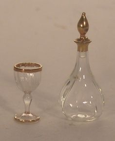 Gold Trim Decanter & Wine Glass by Gerd Felka - $75.00 : Swan House Miniatures, Artisan Miniatures for Dollhouses and Roomboxes