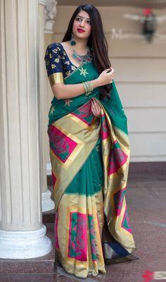 f19400b9d9b79 Beige and Green Color Shaded Banarasi Silk Printed Sari. Floral Print  SareesPlain ...