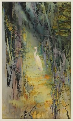 """(Charleston, South Carolina)The Egret of the Forest Path, circa 1930, signed lower right """"Alice R. Huger Smith"""", original artist label verso with title, watercolor on watercolor board, 21-3/4 x 13 in.; wood frame, board slightly convex, colors fresh Provenance: Edwin S. Webster, Chestnut Hill, Massachusetts; Private Collection, Charleston, South Carolina"""