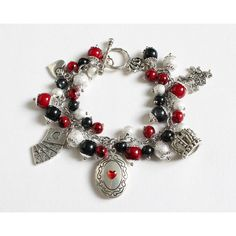 Queen of Hearts Bracelet ($20) ❤ liked on Polyvore featuring jewelry, bracelets, red and black jewelry and crown jewelry