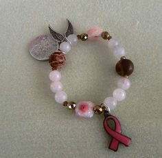 Support Breast Cancer Fairy Frost Quartz Charm Bracelet by VintageMirageJewelry on Etsy