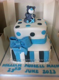 My nephew and his fiance asked me to make this cake for there baby's christening. I made a grey bear with a white muzzle and a blue nose and I made his pad Baby Cakes, Baby Shower Cakes, Cupcake Cakes, Cupcakes, Cool Birthday Cakes, It's Your Birthday, Cherry Blossom Cake, Baby Christening, Cake Designs
