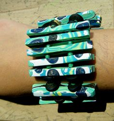 Mokume Gane polymer clay bracelet handmade unique green by KASTina, $55.00