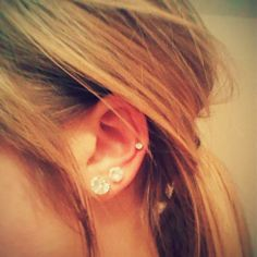 Mid-cartilage piercing with doubles