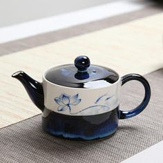 Flambe Glazed Chinese Porcelain Teapot Ceramic Tea Pot with Hand Painted Lotus Flower Good Gift For Him, Free Shipping