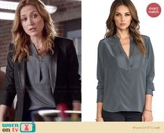 Maura's grey split neck blouse on Rizzoli and Isles. Outfit Details: http://wornontv.net/34706/ #RizzoliandIsles
