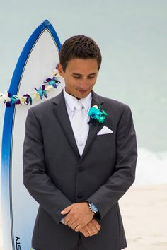 The Groom waiting on his Bride www.CoastalSoirees.com
