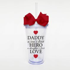 Daddy Hero Love Acrylic Tumbler Personalized Cup by SweetSipsters, $15.00