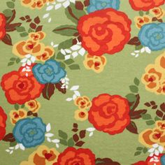 Retro Roses Sage Cotton Jersey Blend Knit Fabric
