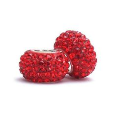 Set of 2  Red SWAROVSKI Elements Crystal Pave by BellaFasciniBeads