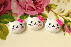 Resin Cabochons Cute Cat 6 pcs White Cat Cabochon with bow via Etsy