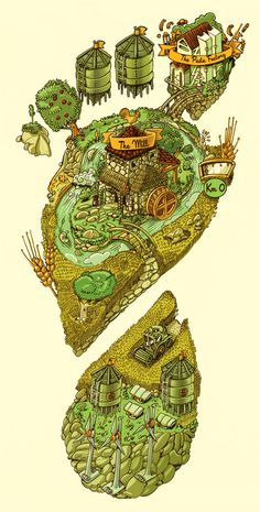 Molino Sgambaro Carbon Footprint Illustration by MANIFACTORY , via Behance