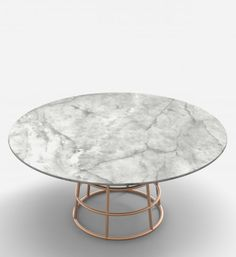 MASS TABLE | Alain Gilles for Bonaldo - table dining round wood metal glass copper brass cage floating marbe table top graphic lightweight visual furniture design steel living room dining room