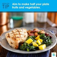 #TipTuesday: Make half your plate fruits and vegetables. Not only do fruits and veggies add color, flavor and texture to your meal - they are also packed with vitamins, minerals and fiber.   Aim to make 2 cups of fruit and 2 ½ cups of vegetables your daily goal. Experiment with different types, including fresh, frozen and canned - depending on what's in season.