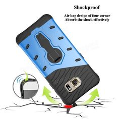 360 Degree Rotation Collapsible Bracket Shockproof Back Case Cover for Samsung Galaxy S7 Edge G9350