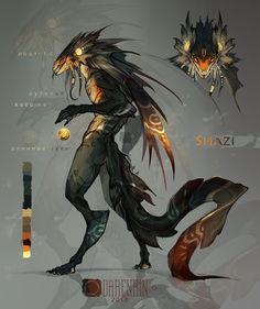 Draw Creatures Shazi by Darenrin on DeviantArt - Monster Art, Monster Concept Art, Alien Concept Art, Creature Concept Art, Fantasy Monster, Monster Design, Creature Design, Mythical Creatures Art, Mythological Creatures