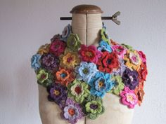 Crochet or Knit a field of fleurs for a bee-u-ti-ful wrap!