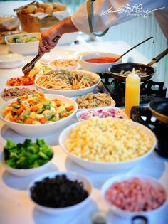 Pasta Bar - assorted pastas, assorted sauces, and some good 'ol Parmesan!  This could be a cost-effective DIY!!